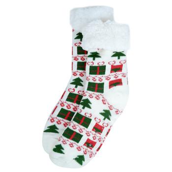 Women's Plush Sherpa Winter Fleece Lining Christmas Slipper Socks - WFXMS3000-WH