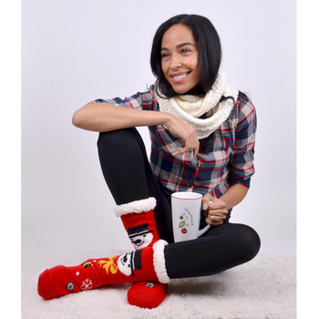 Women's Snowman Plush Sherpa Winter Fleece Lined Christmas Slipper Socks - WFXMS3001