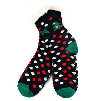 Women's Christmas Tree Plush Sherpa Winter Fleece Lined Slipper Socks - WFXMS3002