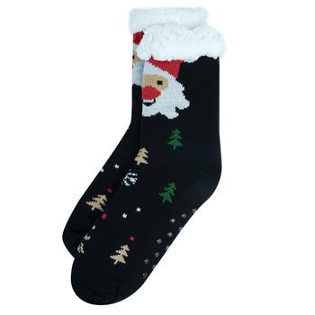 Women's Black Plush Sherpa Winter Fleece Lined Christmas Slipper Socks - WFXMS3003