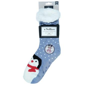 Women's Penguin Plush Sherpa Winter Fleece Lined Slipper Socks -WFLS-A1004