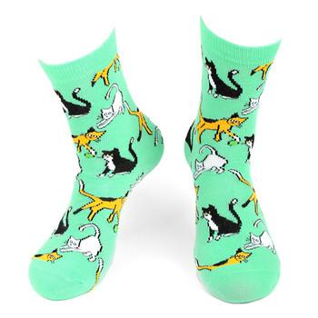 Women's Playful Cats Novelty Socks - LNVS19417-TQ