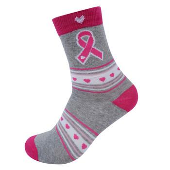 Women's Breast Cancer Ribbon Novelty Socks- LNVS19611-GRY