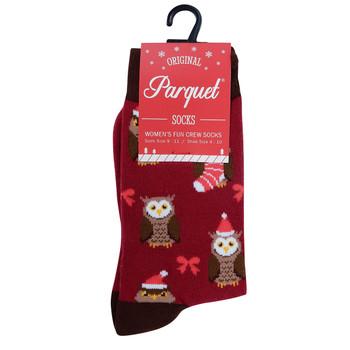 Women's Owl Christmas Novelty Socks- LNVS19616-BUR
