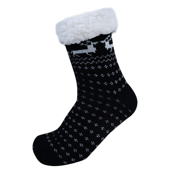 Women's Plush Sherpa Winter Fleece Lining Christmas Slipper Socks - WFLS1010
