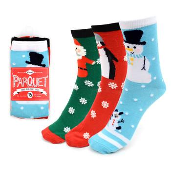 3 Pairs Pack Ladies Christmas Holidays Crew Socks - 3PK-LXMS1