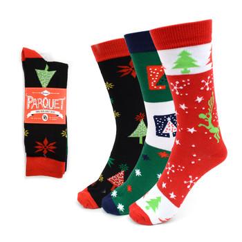 3 Pairs Pack Ladies Christmas Holidays Crew Socks - 3PK-LXMS4