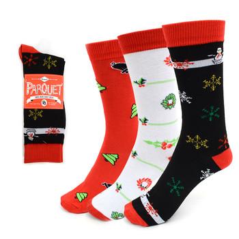 3 Pairs Pack Ladies Christmas Holidays Crew Socks - 3PK-LXMS5