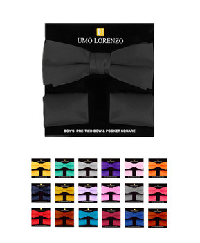 100% Poly Satin Boy's Banded Bow Tie and Hanky BBTH1301