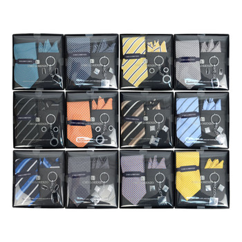 12pc Pack Assorted Tie, Hanky, Cufflink & Keychain Set TCK12