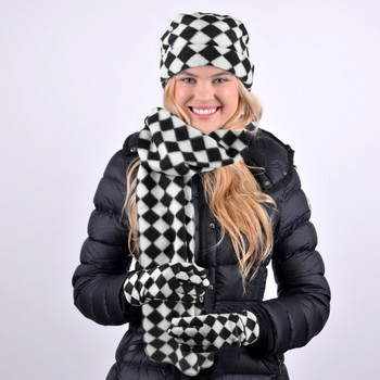 Women's Fleece Black & White Checkered Winter Set WSET8060
