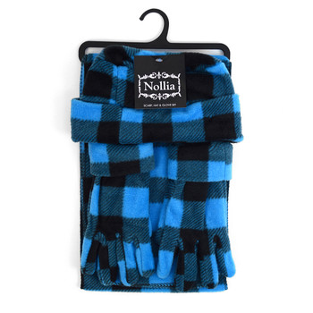 6pc Pack Women's Fleece Azure Plaid Winter Set WSET8020