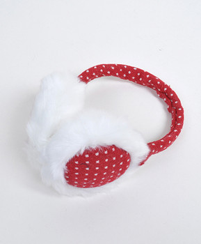 6pc Polka Dot Winter Ear Muffs with White Fur Trim - JTY2
