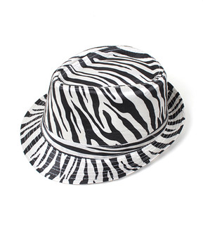 6pc Fedora Hat - Zebra HT0302