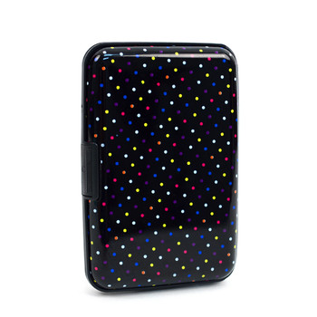 12pc Pack Card Guard Aluminum Compact Wallet Credit Card Holder with RFID Protection - Rainbow Dots