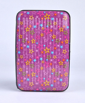 Card Guard Aluminum Compact Card Holder - Purple Stars