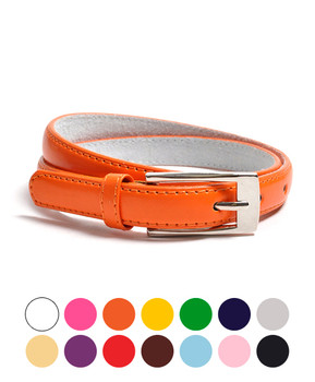 12pc Pack Ladies Solid Color Leather Skinny Belt JBT7055