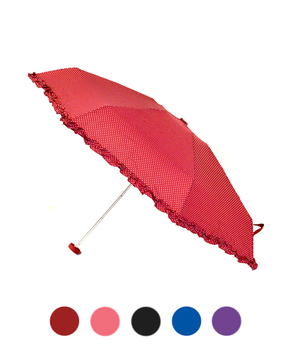 Polka-Dots Compact Solid Color Ruffled Trim Umbrella UC5331