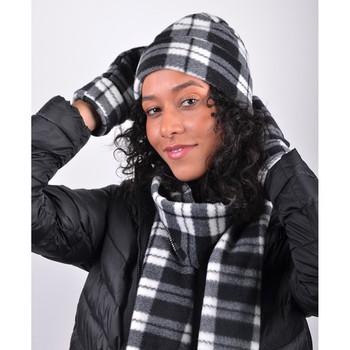 Women's Gray Plaid Fleece Winter Set WNTSET1002
