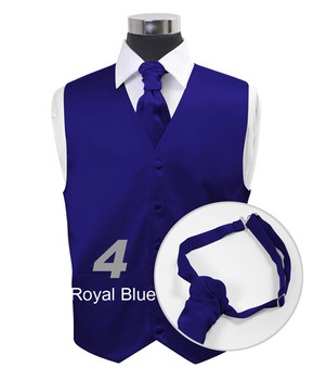 """Royal Blue"" Poly Solid Satin Cravat FC1701-4"