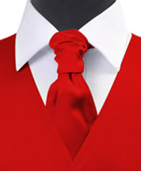 """Red"" Poly Solid Satin Cravat FC1701-7"