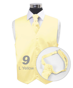 """Light Yellow"" Poly Solid Satin Cravat FC1701-9"