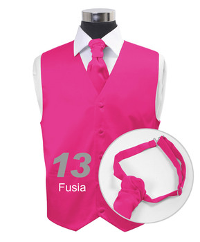 """Fuchsia"" Poly Solid Satin Cravat FC1701-13"
