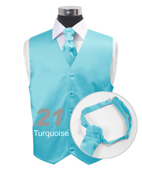 """Turquoise"" Poly Solid Satin Cravat FC1701-21"