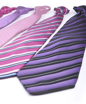 6pc Pack Poly Woven Mixed Zipper Ties - Pink