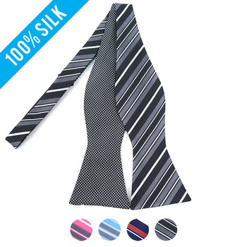 100% Silk Woven Freestyle and Reversible Bow Tie FRBS1000
