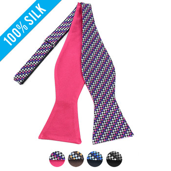100% Silk Woven Freestyle and Reversible Bow Tie FRBS1070