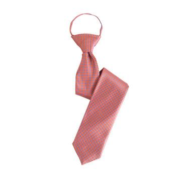 "Boy's 17"" Grid Orange Zipper Ties"