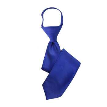 "Boy's 17"" Solid Blue Zipper Tie"