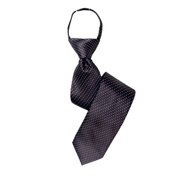 "Boy's 17"" Geometric Brown Zipper Tie"