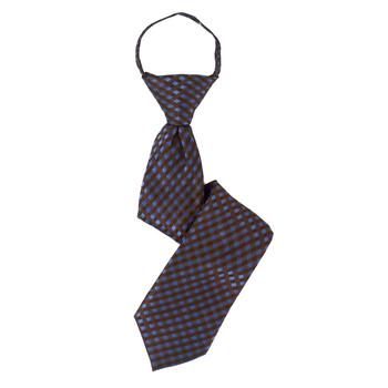 """Boy's 14"""" Checkered Brown Zipper Tie"""