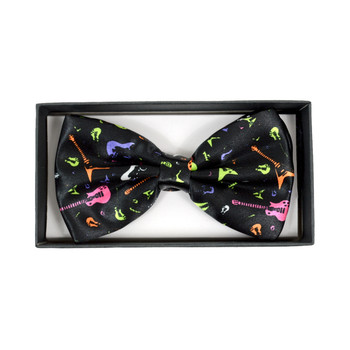 Men's Colorful Guitar Black Banded Bow Tie