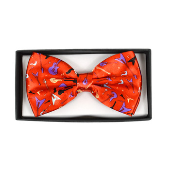Men's Guitar Red Banded Bow Tie