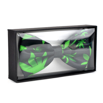 Men's Green Leaves Black Banded Bow Tie