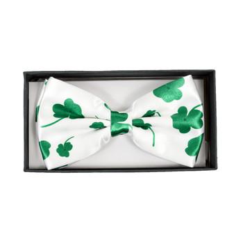 Men's Green Clover White Banded Bow Tie