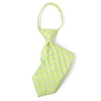 "Boy's 14"" Plaid Lime Zipper Tie"