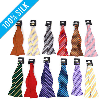 12pc Random Assorted Silk Woven Freestyle Bow Tie FBS12ASST