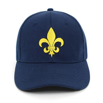 Yellow Fleur-de-lis Black Embroidered Baseball Cap (BCC010516FLB1)