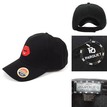 Lip Black Embroidered Baseball Cap (BCC010816L)