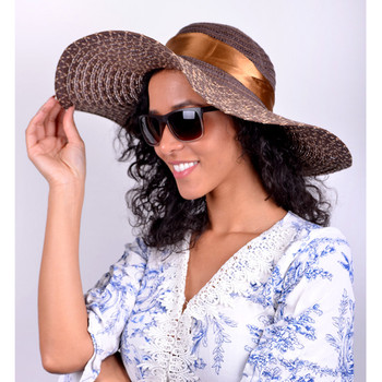 "Women's 6"" Brim Brown Bow Floppy Hat H10323"