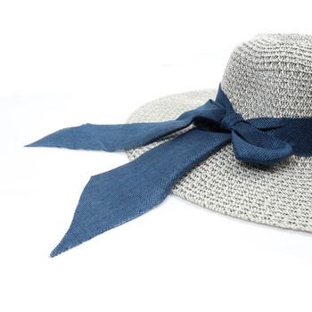 "Women's 5"" Brim Blue Bow Sky Blue Floppy Hat H10320"