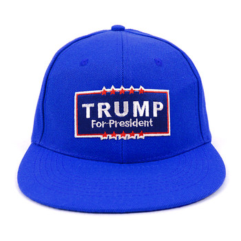 2016 Trump Solid Flat Bill Embroidery Patch Snapback Cap, Hat