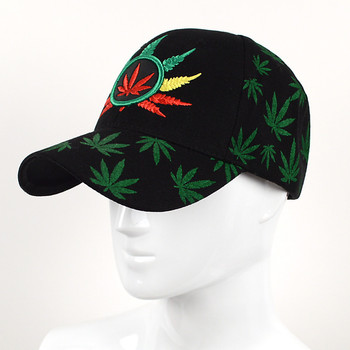 Leaf Pattern Black 3D Embroidered Baseball Cap, Hat EBC10289
