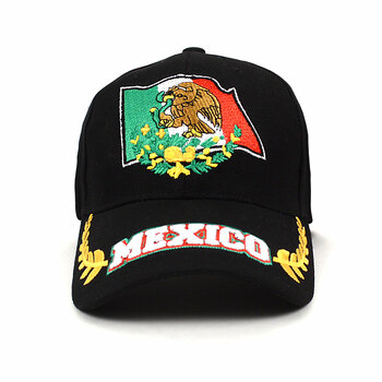 Mexico Black 3D Embroidered Baseball Cap, Hat EBC10300