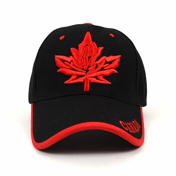 Canada Leaf Black & Red 3D Embroidered Baseball Cap, Hat EBC10309