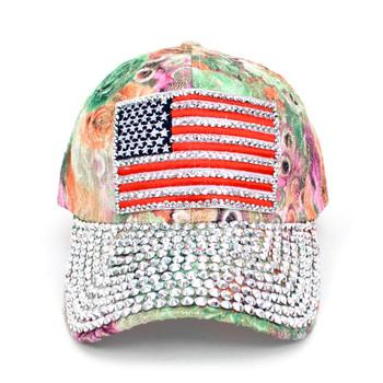 American Flag Bling Studs Green Flower Baseball Cap CFP10173G